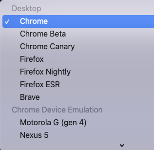 画像: ブラウザ指定ができるセレクターの画像。Chrome,Chrome Beta,Chrome Canary,Firefoxなどの選択肢が並んでいる。